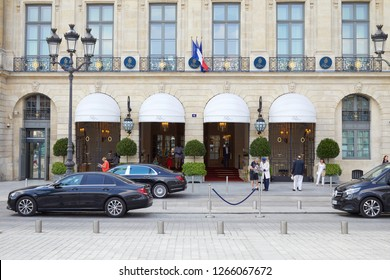 PARIS, FRANCE - JULY 07, 2018: Ritz luxury hotel in place Vendome in Paris with people in a sunny day