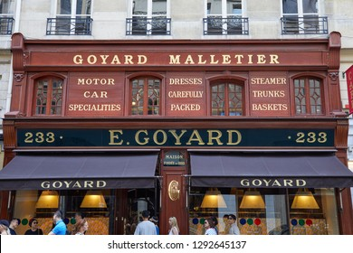 PARIS, FRANCE - JULY 07, 2018: Goyard luxury store in Paris, people and tourists walking and in queue