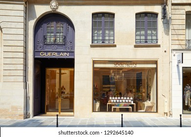 PARIS, FRANCE - JULY 07, 2018: Guerlain store in Paris in a sunny summer day