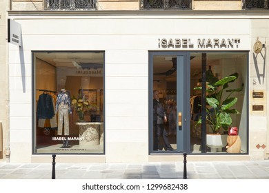 PARIS, FRANCE - JULY 07, 2018: Isabel Marant store with golden letters sign in Paris in a sunny day