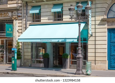 PARIS, FRANCE - JULY 07, 2018: Tiffany luxury jewelry store in a sunny summer day in Paris