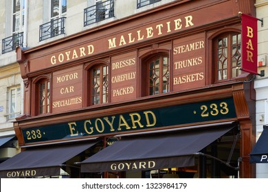PARIS, FRANCE - JULY 07, 2018: Goyard luxury shop in Paris with wooden facade and golden letters sign in summer