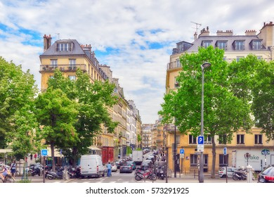 PARIS, FRANCE - JULY 08, 2016 : City views of one of the most beautiful cities in the world-Paris. Streets, buildings, people on the streets.