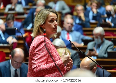 PARIS, FRANCE – July 08 2020: French Ecological Transition Minister Barbara Pompili speaks during the session of questions to the government at French Senate.