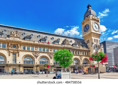 PARIS, FRANCE - JULY 09, 2016 : City views of one of the most beautiful cities in the world - Paris. Station Gare de Lyon is one of the oldest and most beautiful train stations in Paris.