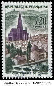 Paris, France - July 1, 1961: St. Theobald's Church, Thann, 800th anniversary of Thann. Stamp issued by French Post in 1961.