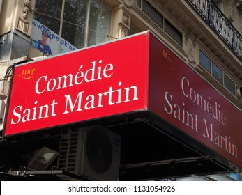 PARIS, FRANCE - JULY 10, 2018: An exterior red canopy indicates Comédie Saint-Martin, a theatre on boulevard Saint-Martin on July 19, 2018 in Paris, France.