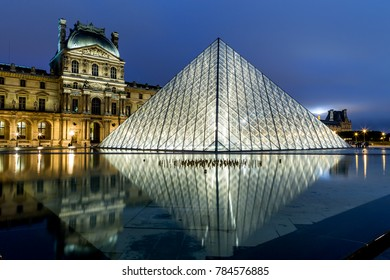 Paris, France - July 10,2014 - Louvre museum in Paris by night