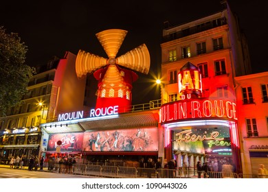 Paris, France - July 11,2014 - Moulin Rouge in Paris at night