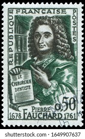 Paris, France - July 12, 1961: Pierre Fauchard, first surgeon dentist. Stamp issued by French Post in 1961 for his Bicentenary of the death.