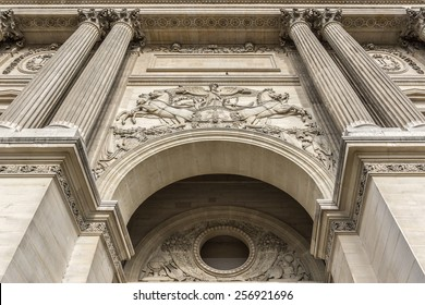 PARIS, FRANCE - JULY 13, 2014: View fragments of Louvre buildings in Louvre Museum. Louvre is one of the largest and most visited museums worldwide.