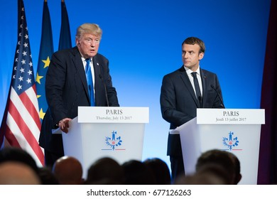 PARIS, FRANCE - JULY 13, 2017 : The President of United States of America Donald Trump with the french President Emmanuel Macron in press conference at the Elysee Palace after an extended interview.