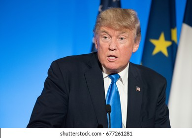 PARIS, FRANCE - JULY 13, 2017 : The President of United States of America Donald Trump at the Elysee Palace for an extended interview with the french President.