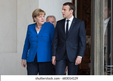 PARIS, FRANCE - JULY 13, 2017 : German Chancellor Angela Merkel with the french President Emmanuel Macron at the Elysee Palace for a Council of Franco-German Ministers.