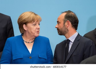 PARIS, FRANCE - JULY 13, 2017 : German Chancellor Angela Merkel with the french Prime Minister Edouard Philippe at the Elysee Palace for a Council of Franco-German Ministers.