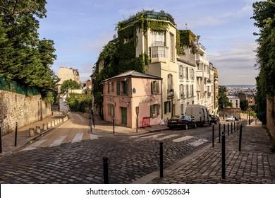 PARIS, FRANCE - JULY 13, 2017: hill Montmartre, Cafe Maison Rose, one of the most famous art cafes in Paris.