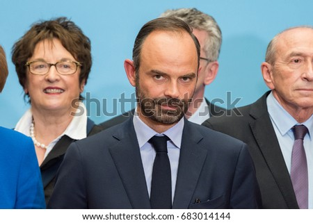 PARIS, FRANCE - JULY 13, 2017 : The french Prime Minister Edouard Philippe at the Elysee Palace for a Council of Franco-German Ministers.