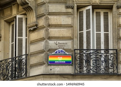 PARIS, FRANCE - JULY 13, 2019: Rue des Archives, Gay and Gay-friendly Parisian District. Street Sign as a rainbow flag. High Resolution Image.