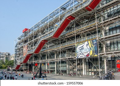 PARIS, FRANCE - JULY 13: facade of the Centre Georges Pompidou in Paris, France on July 13, 2013. The museum is the third most visited attraction in the city with about 5.5 million visitors per year.