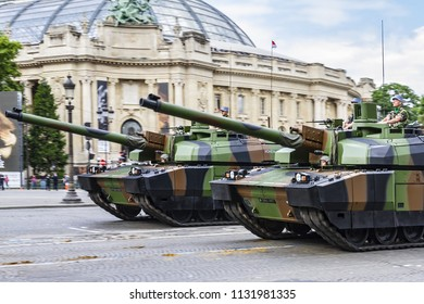 PARIS, FRANCE - JULY 14, 2012: Motorized and armored forces during the ceremonial of French Republic Day or National Day of France (la Fete Nationale or Le 14 Juillet) on the Champs Elysees.