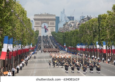 Paris, France - July 14, 2012. Soldiers from the French Foreign Legion march during the annual military parade in honor of the Bastille Day.