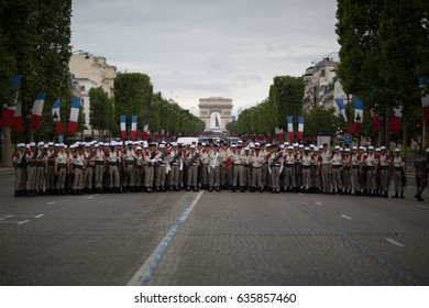 Paris, France - July 14, 2012. Legionnaires of the French Foreign Legion before the annual military parade in honor of the Bastille Day.