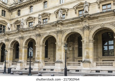 PARIS, FRANCE - JULY 14, 2014: View of Louvre building in Louvre Museum. Museum is one of the largest and most visited museums worldwide.