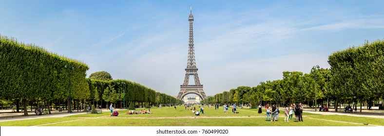 PARIS, FRANCE - JULY 14 2014: Panorama of The Eiffel Tower in Paris, France in a beautiful summer day, July 14, 2014
