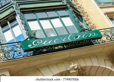 Paris, France - July 14, 2014: Guerlain storefront on the Champs Elysees. Guerlain is one of the oldest French perfumers.