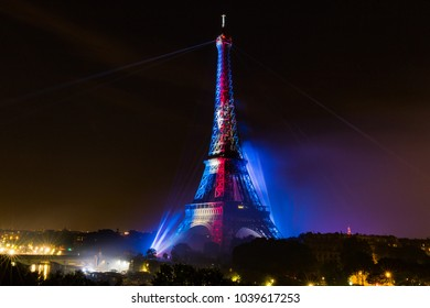 Paris, France - July 14 2017: Bastille Day Fireworks Over the Eiffel Tower