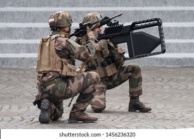 PARIS, FRANCE July 14th 2019 :  Dronegun tactical for the anti-drone fight used by french task forces  in front of the presidential platform during the Bastille day military parade.