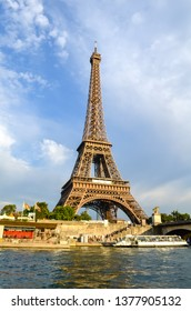 Paris, France - July 15, 2013: View from the river of hay to the Eiffel tower.