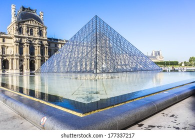 PARIS, FRANCE - JULY 16, 2012: View of Inverted Pyramid (architect Pei Cobb Freed) in Louvre Museum. With 8.8 million annual visitors, Louvre is consistently most visited museum worldwide.