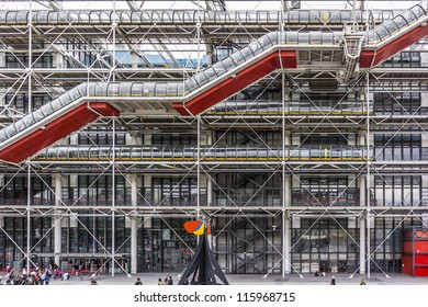 PARIS, FRANCE - JULY 16: Centre Georges Pompidou (1977) was designed in style of high-tech architecture, Paris, France, on July 16, 2012. It houses library, National Art Modern museum and IRCAM.