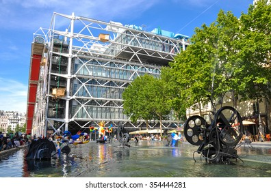 Paris, France - July 17, 2010:The cultural center and museum, Centre de Pompidou in Paris, France. The place is notable for its unusual modern architecture.
