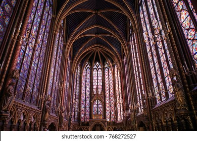 PARIS, FRANCE - JULY 18, 2017: The Sainte-Chapelle is a royal chapel in the Gothic style. The upper chapel of the monument is covered in 600 m of stained-glass windows