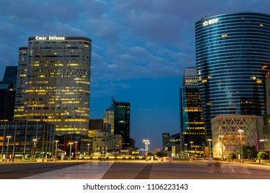 Paris, France - July 18,2015 - La Defense business district in Paris at night