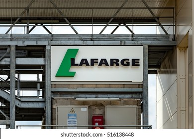 Paris, France - July 20, 2016:  View of Lafarge cement, concrete and aggegates infrastructure in Paris France.