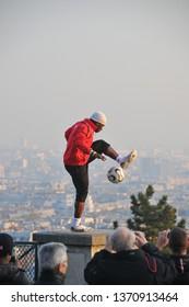 PARIS, FRANCE - JULY 2016: Football player in Montmartre, Paris