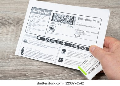 Paris, France. July 2017. Easyjet boarding pass on the hand