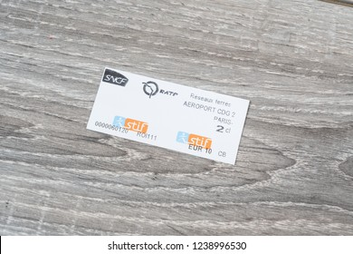 Paris, France. July 2017.  a view of CNCF french train ticket to Charles De Gaulle Airport in Paris