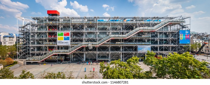 PARIS, FRANCE - JULY 2018: Image of the Centre Georges Pompidou on July 25th 2018 in Paris, France.