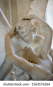 PARIS, FRANCE - JULY, 2018: Psyche Revived by Cupid's Kiss of Antonio Canova in the Louvre