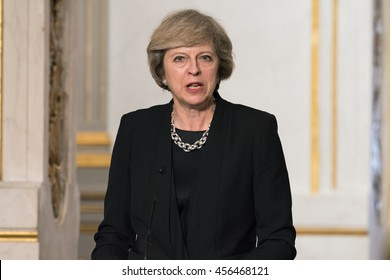 Paris, FRANCE - JULY 21, 2016 : The Prime Minister of United Kingdom Theresa May in Press conference about a work visit at the Elysee Palace.