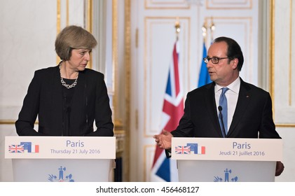 Paris, FRANCE - JULY 21, 2016 : French President Francois Hollande with the Prime Minister of United Kingdom Theresa May in press conference about a work visit at the Elysee Palace.