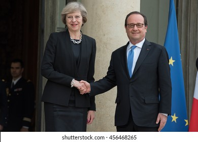Paris, FRANCE - JULY 21, 2016 : French President Francois Hollande welcoming the Prime Minister of United Kingdom Theresa May for a work visit at the Elysee Palace.
