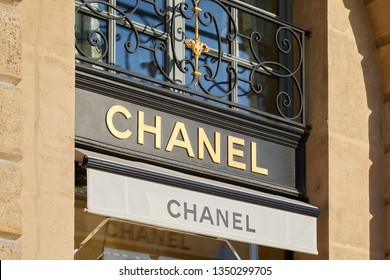 PARIS, FRANCE - JULY 21, 2017: Chanel luxury store sign in place Vendome in Paris, France.