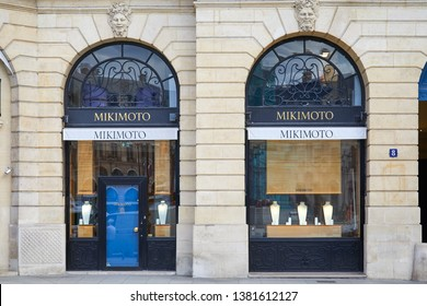 PARIS, FRANCE - JULY 21, 2017: Mikimoto luxury store in place Vendome in Paris, France.