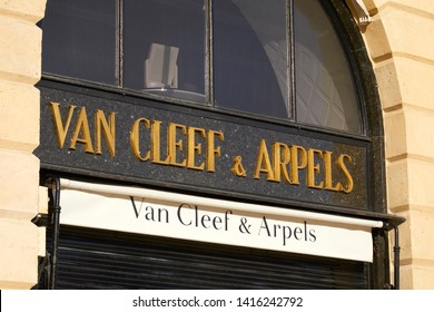 PARIS, FRANCE - JULY 21, 2017: Van Cleef and Arpels luxury store sign in place Vendome in Paris, France.