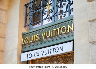 PARIS, FRANCE - JULY 21, 2017: Louis Vuitton luxury store sign in place Vendome in Paris, France.